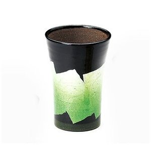 〔酒器 九谷焼〕 九谷和窯 泡多長ビアカップ 250cc 銀彩 緑色 itibei