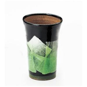 〔酒器 九谷焼〕 九谷和窯 泡多長ビアカップ 350cc 銀彩 緑色 itibei