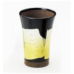 〔酒器 九谷焼〕 九谷和窯 泡多長ビアカップ 250cc 銀彩 黄色 itibei