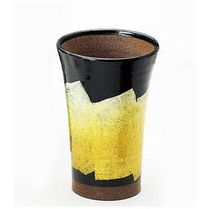 〔酒器 九谷焼〕 九谷和窯 泡多長ビアカップ 350cc 銀彩 黄色 itibei