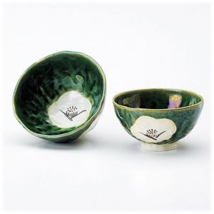〔飯碗 赤津焼〕 松山窯 織部椿 夫婦茶碗|itibei