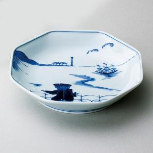〔和皿・洋皿 有田焼〕 青花 後姿 正八角7寸皿|itibei