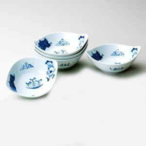 〔和皿・洋皿 有田焼〕 青花 異人づくし 舟型小鉢揃|itibei