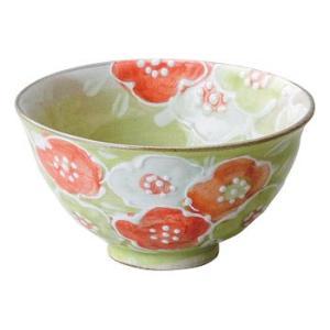 〔飯碗 瀬戸焼〕 錦山窯 花舞 飯椀 (緑)|itibei