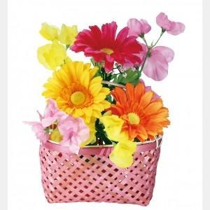 【装飾品 ひな祭り・お花見】手さげ篭アレンジガーベラ 2個|itibei