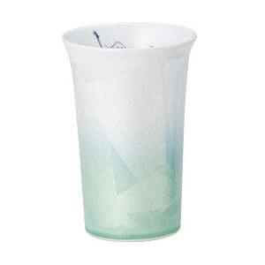 〔フリーカップ 九谷焼〕 宗秀窯 釉裏銀彩椿 フリーカップ(グリーン)|itibei