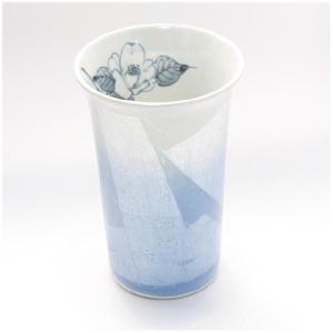 〔フリーカップ 九谷焼〕 宗秀窯 釉裏銀彩椿 フリーカップ(ブルー)|itibei