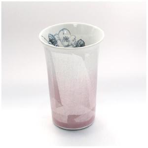 〔フリーカップ 九谷焼〕 宗秀窯 釉裏銀彩椿 フリーカップ(ピンク)|itibei