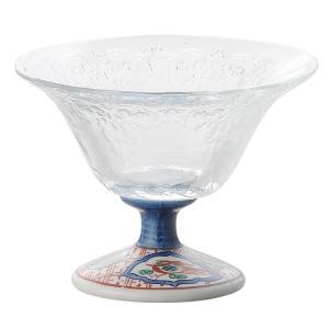 〔小付・鉢 美濃焼〕 赤絵丸紋ガラスデザート鉢 1個|itibei