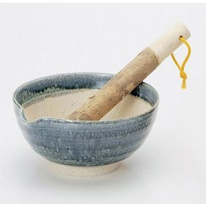 〔小付・鉢 美濃焼〕 藍釉 すり鉢(すり棒付)|itibei