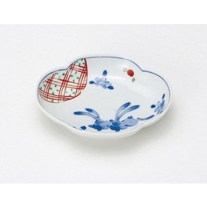 〔和皿・洋皿 有田焼〕 花うさぎ 木甲小皿 5個組|itibei