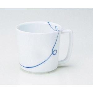 〔マグカップ 波佐見〕 一筆 軽々マグカップ(青) 5個組|itibei