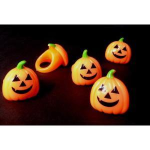 【ハロウィン景品】 光る玩具 ハロウィン 光るかぼちゃのやわらか指輪 24入り|itibei