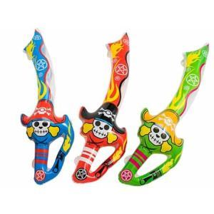 〔ビニール玩具〕肩ひも付きビニール海賊剣 約68cm 12個入り|itibei