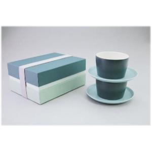 〔美濃焼 コーヒー碗皿〕 グラデーション ペアカップ&ソーサー(GR)|itibei