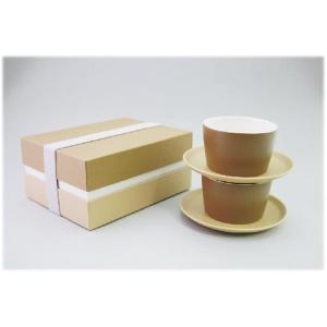 〔美濃焼 コーヒー碗皿〕 グラデーション ペアカップ&ソーサー(BR)|itibei
