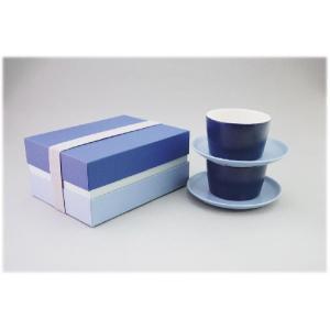 〔美濃焼 碗皿〕 グラデーション ペアカップ&ソーサー(BL)|itibei