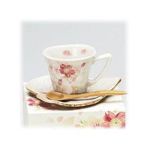 〔美濃焼 コーヒー碗皿〕 新白雲ざくら 一客碗皿(赤)|itibei