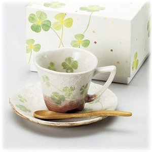 〔美濃焼 コーヒー碗皿〕 白雲クローバー 一客碗皿|itibei