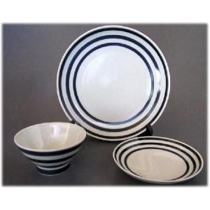 〔波佐見焼 和皿・洋皿〕 和山窯 和帯 3点セット(青)|itibei