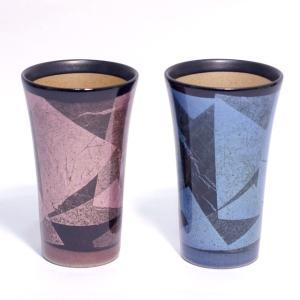〔九谷焼 フリーカップ〕 宗秀窯 釉裏銀彩 ペア泡立ちフリーカップ|itibei