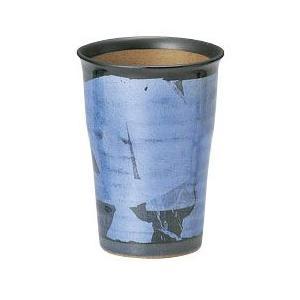 〔九谷焼 フリーカップ〕 宗秀窯 釉裏銀彩泡立ち ビアカップ(ブルー)|itibei