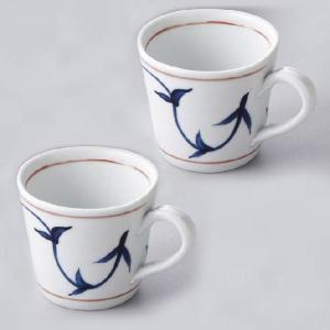 〔萬古焼 マグカップ〕 白磁唐草 ペアマグカップ|itibei