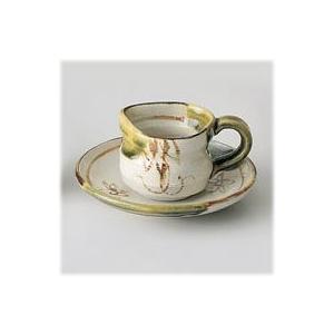 〔瀬戸焼 コーヒー碗皿〕 赤津焼織部 5.0皿コーヒーC・S|itibei
