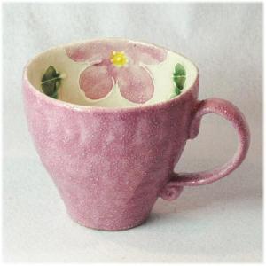 〔瀬戸焼 マグカップ〕 色巻一珍花 マグ(紫) 5個組|itibei