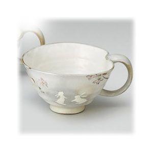 〔有田焼 マグカップ〕 花とび兎 スープ碗(赤)|itibei