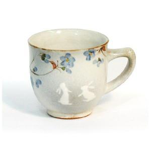 〔有田焼 マグカップ〕 花とび兎 マグ(青)|itibei