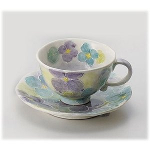 〔瀬戸焼 コーヒー碗皿〕 一珍花紋 コーヒー碗皿(青)|itibei