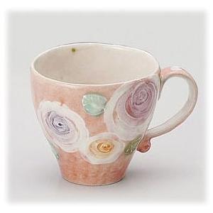 〔瀬戸焼 マグカップ〕 彩バラ化粧 マグ(紅) 3個組|itibei
