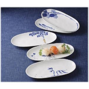 〔有田焼 和皿・洋皿〕 和山窯 染旬菜 楕円焼皿揃|itibei