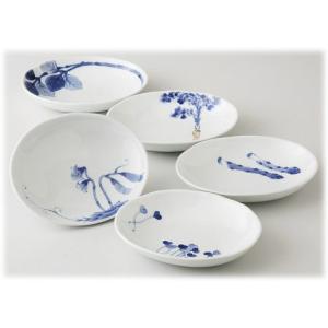 〔有田焼 和皿・洋皿〕 和山窯 染旬菜 楕円取皿揃|itibei