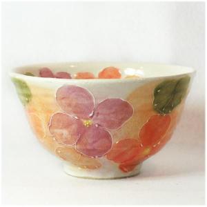 〔瀬戸焼 飯碗〕 一珍花紋 お茶漬碗(紅) 3個組|itibei