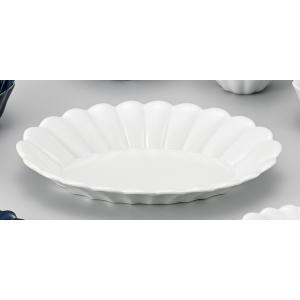 キクワリ(白)楕円皿(大) 5個組 /  波佐見焼|itibei