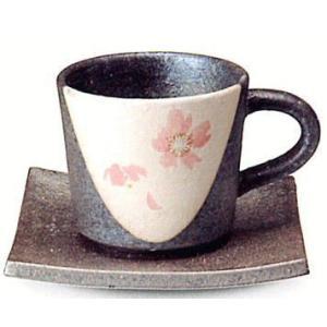 〔信楽焼 コーヒーカップ・ソーサー〕 桃桜コーヒー碗皿|itibei