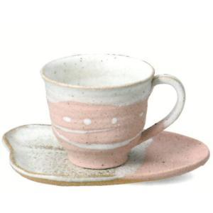 〔信楽焼 コーヒーカップ・ソーサー〕 潮騒(ピンク)コーヒー碗皿|itibei