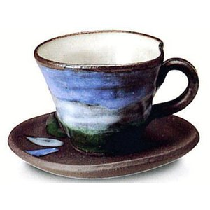〔信楽焼 コーヒーカップ・ソーサー〕 青空コーヒー碗皿|itibei