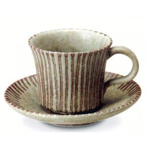 〔信楽焼 コーヒーカップ・ソーサー〕 萌黄ラインコーヒー碗皿|itibei
