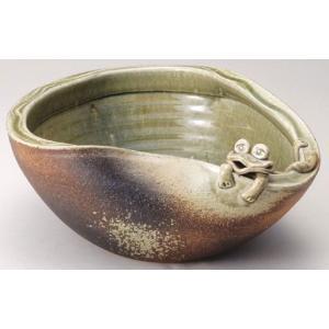 〔信楽焼 めだか鉢〕 蛙付めだか鉢|itibei