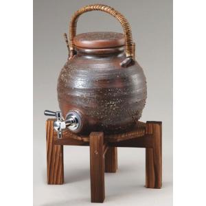 〔コルク栓付き 焼酎サーバー 信楽焼 酒器〕 灰釉手付きサーバー(マイナスイオン)|itibei