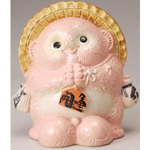 〔縁起物 信楽焼 置物〕 風水お願い狸(ピンク)|itibei