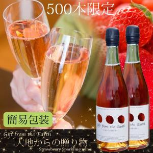 いちごスパークリングワイン 農薬不使用、肥料不使用で栽培したイチゴで作ったスパークリングワイン2本セット【簡易包装用】|itofarm