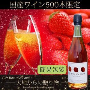 いちごスパークリングワイン 農薬不使用、肥料不使用で栽培したイチゴで作ったスパークリングワイン1本【簡易包装用】|itofarm