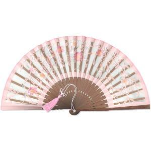 女性用京扇子★透かし彫り 和紙絹/桜 ピンク|itotsune
