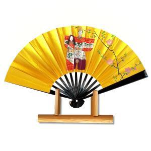 ひな祭り扇子★飾り茶扇台付きセット/黒塗たち雛|itotsune