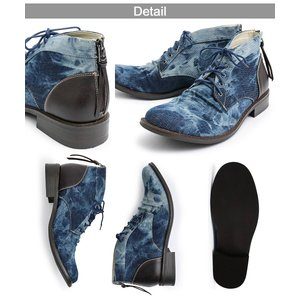 メンズブーツ バックジップ チャッカブーツ チャッカーブーツ メンズ カジュアル ケミカル加工 靴 ブーツ デニム 加工 アンティーク ミドルカット|itouhei|11