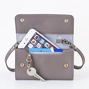 [スモールサイズ] スイス発のスマホ入れとお財布にもなるショルダーミニバッグ iPnone5, 5Sサイズ向け/ 鍵や定期入れ用のフック付きグレイ|itouhei